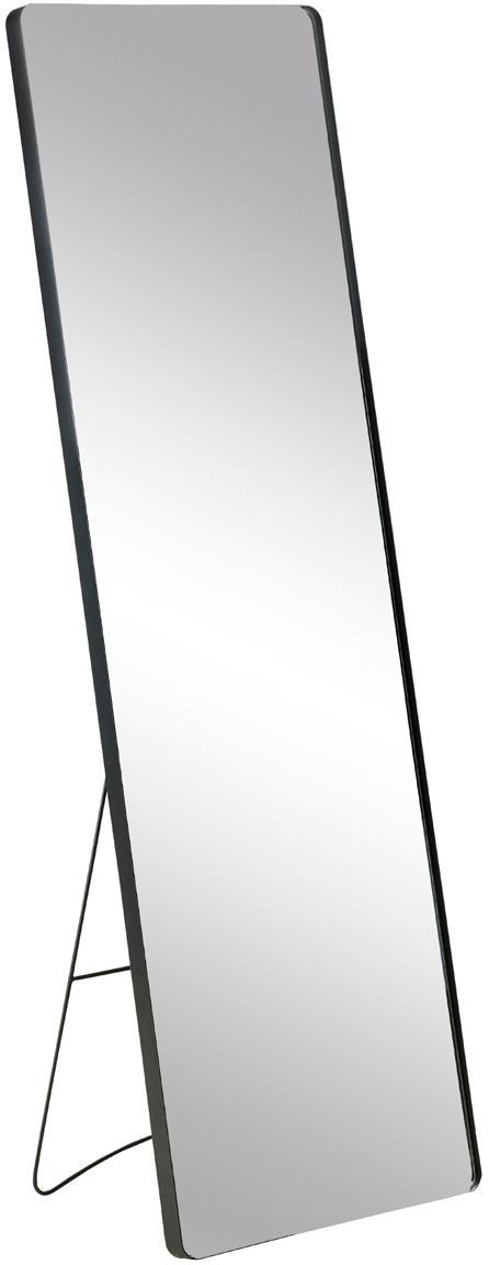 Eckiger Standspiegel Stefo mit schwarzem Metallrahmen, Rahmen: Metall, beschichtet, Spiegelfläche: Spiegelglas, Schwarz, 45 x 140 cm