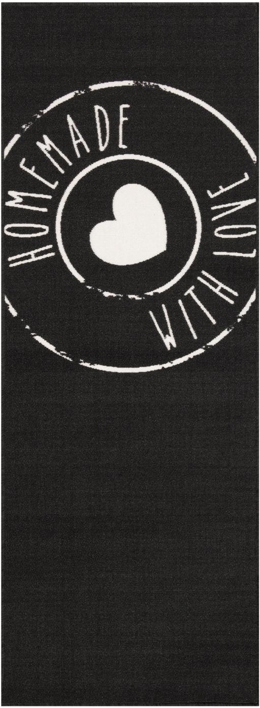 Küchenläufer Homemade with Love, rutschfest, Oberseite: 100% Polyamid, Unterseite: Latex, Schwarz, Weiß, 67 x 180 cm