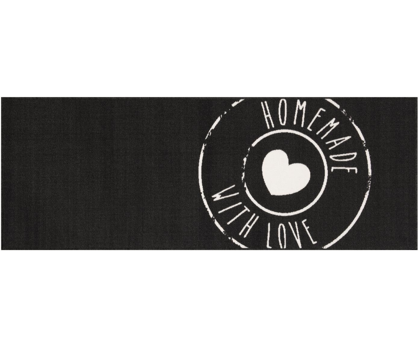 Küchenläufer Homemade with Love, rutschfest, Oberseite: 100% Polyamid, Unterseite: Latex, Schwarz, Weiss, 67 x 180 cm