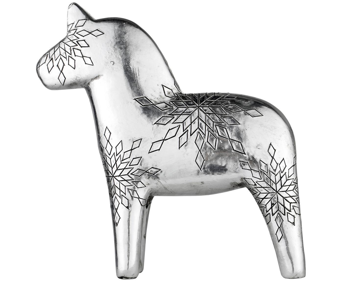 Deko-Objekt Serafina Horse, Polyresin, Silberfarben, 16 x 16 cm