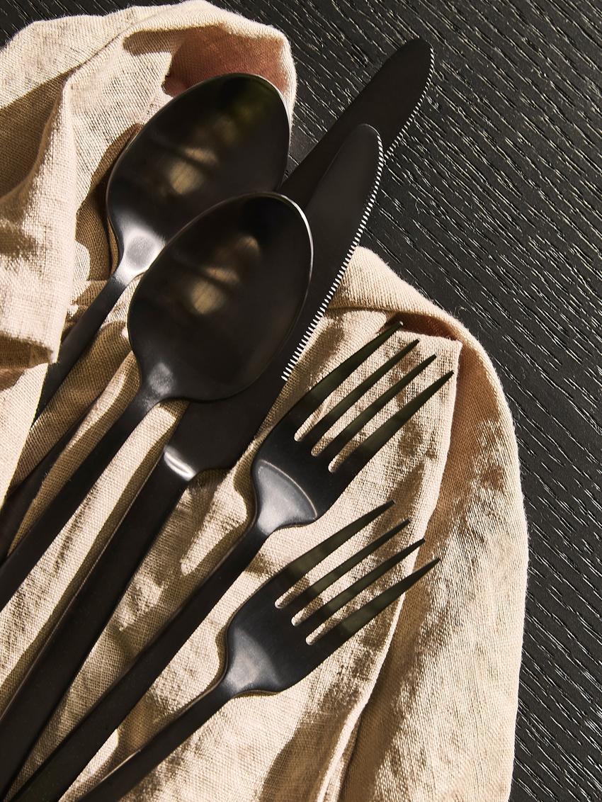 Schwarzes Besteck-Set Shine aus Edelstahl, in verschiedenen Setgrößen, Messer: Edelstahl 13/0, Schwarz, 5-tlg.