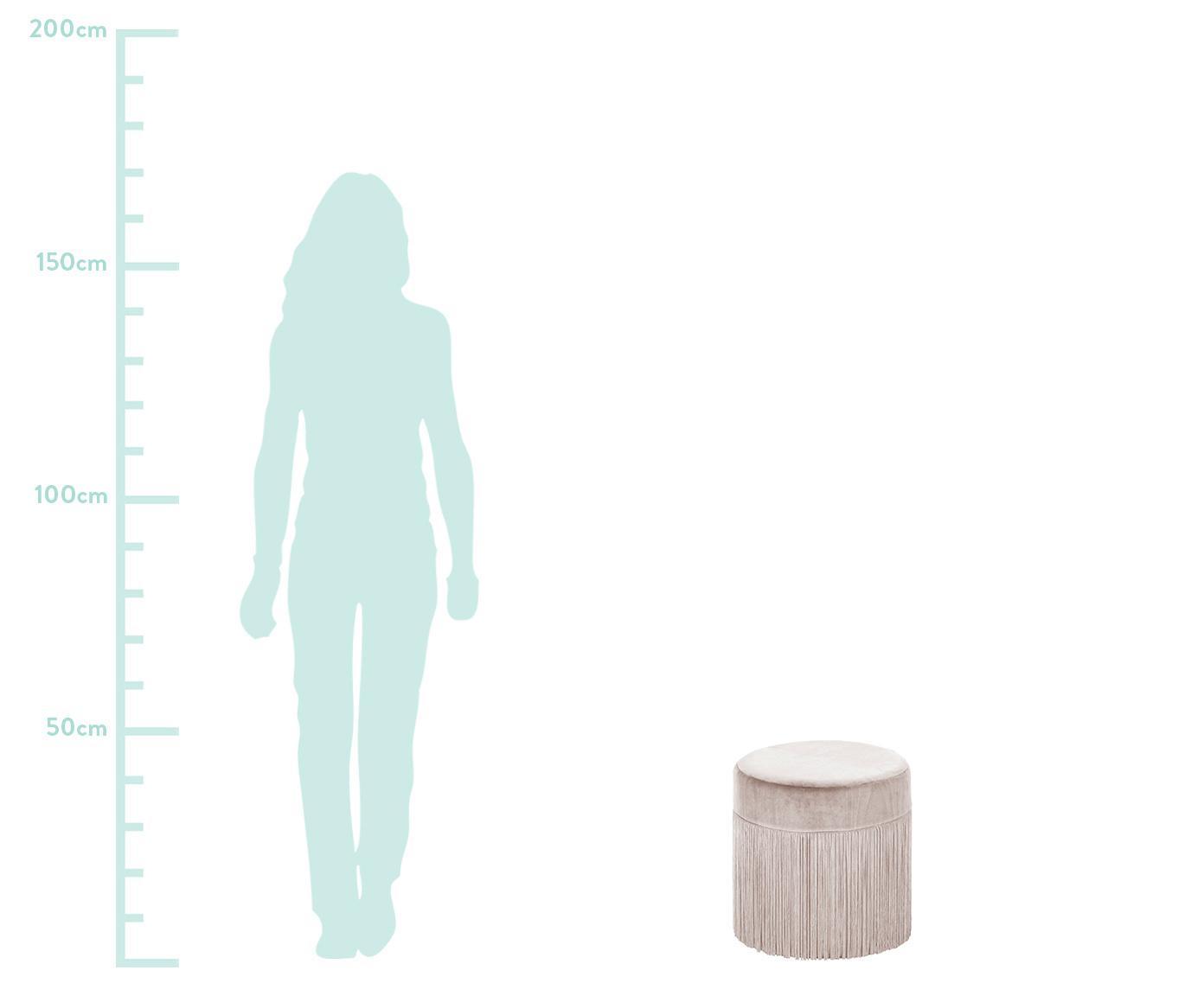 Fransen-Hocker Adriana, Bezug: Baumwollsamt, Fransen: Viskose, Unterseite: Baumwolle, Champagner, Ø 40 x H 40 cm