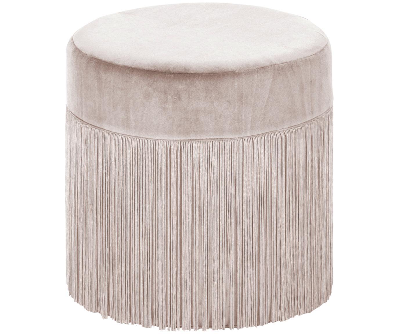 Puf con flecos Adriana, Tapizado: terciopelo de algodón, Flecos: viscosa, Champán, Ø 40 x Al 40 cm