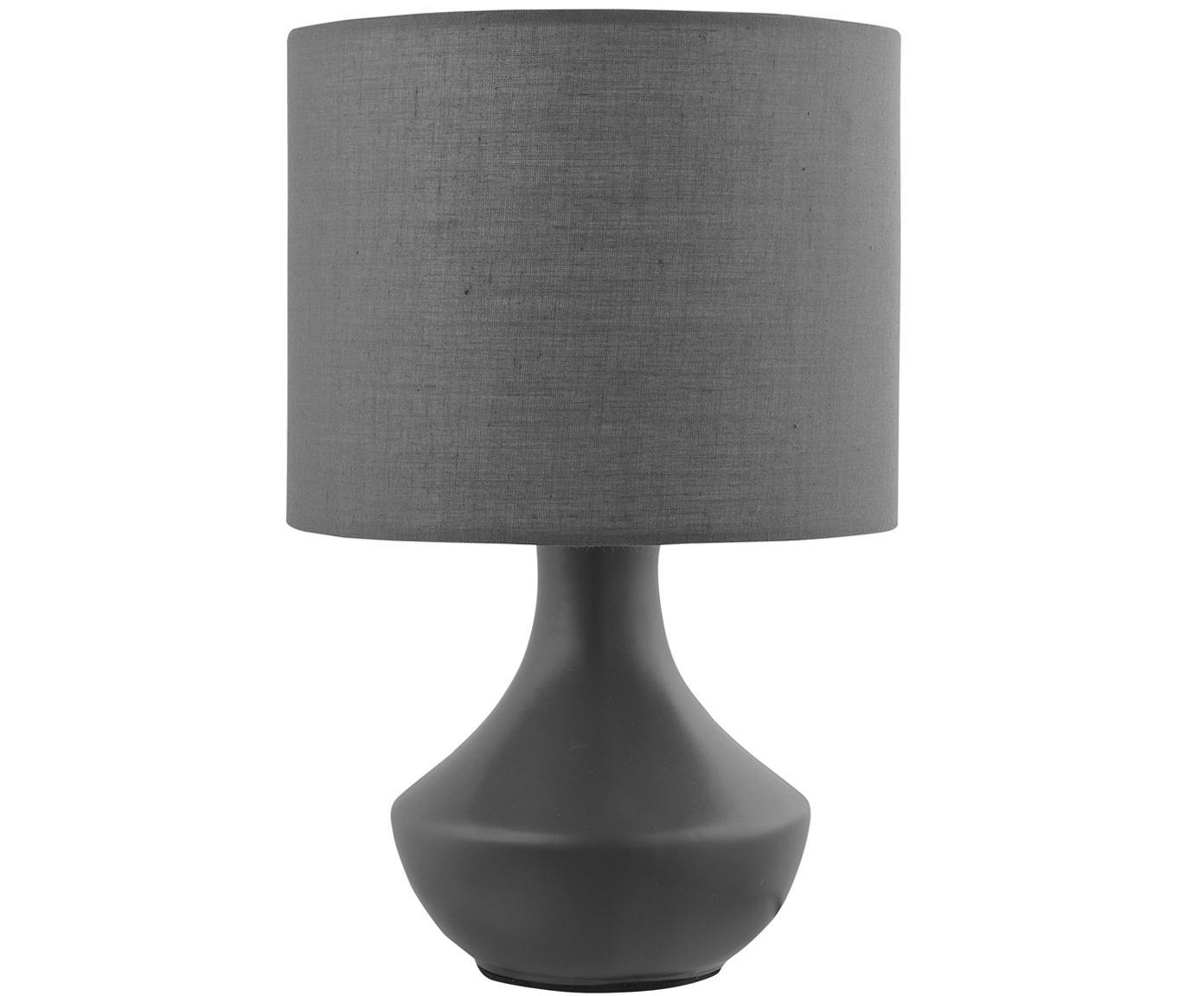 Tafellamp Rosia, Lampenkap: polyester, Lampvoet: gelakt metaal, Grijs, Ø 18 x H 26 cm