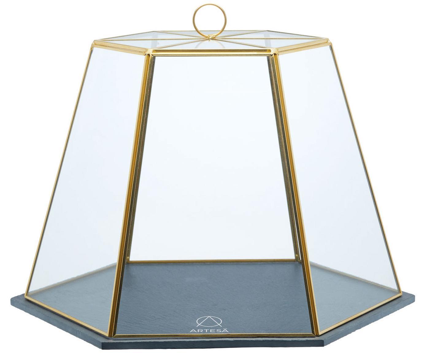 Servierglocke Artesa aus Glas mit goldenen Details, Schiefer, Glas, Metall, Goldfarben, Transparent, Schwarz, 31 x 25 cm