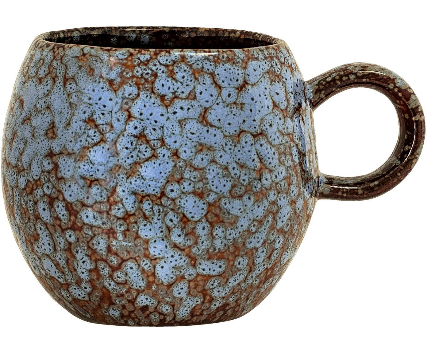 Tasse Paula mit effektvoller Glasur, Steingut, Blau, Braun, Ø 9 x H 8 cm