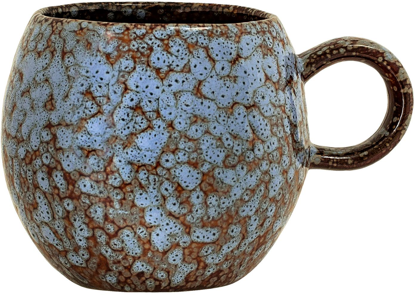 Taza artesanal Paula, Gres, Azul, marrón, Ø 9 x Al 8 cm