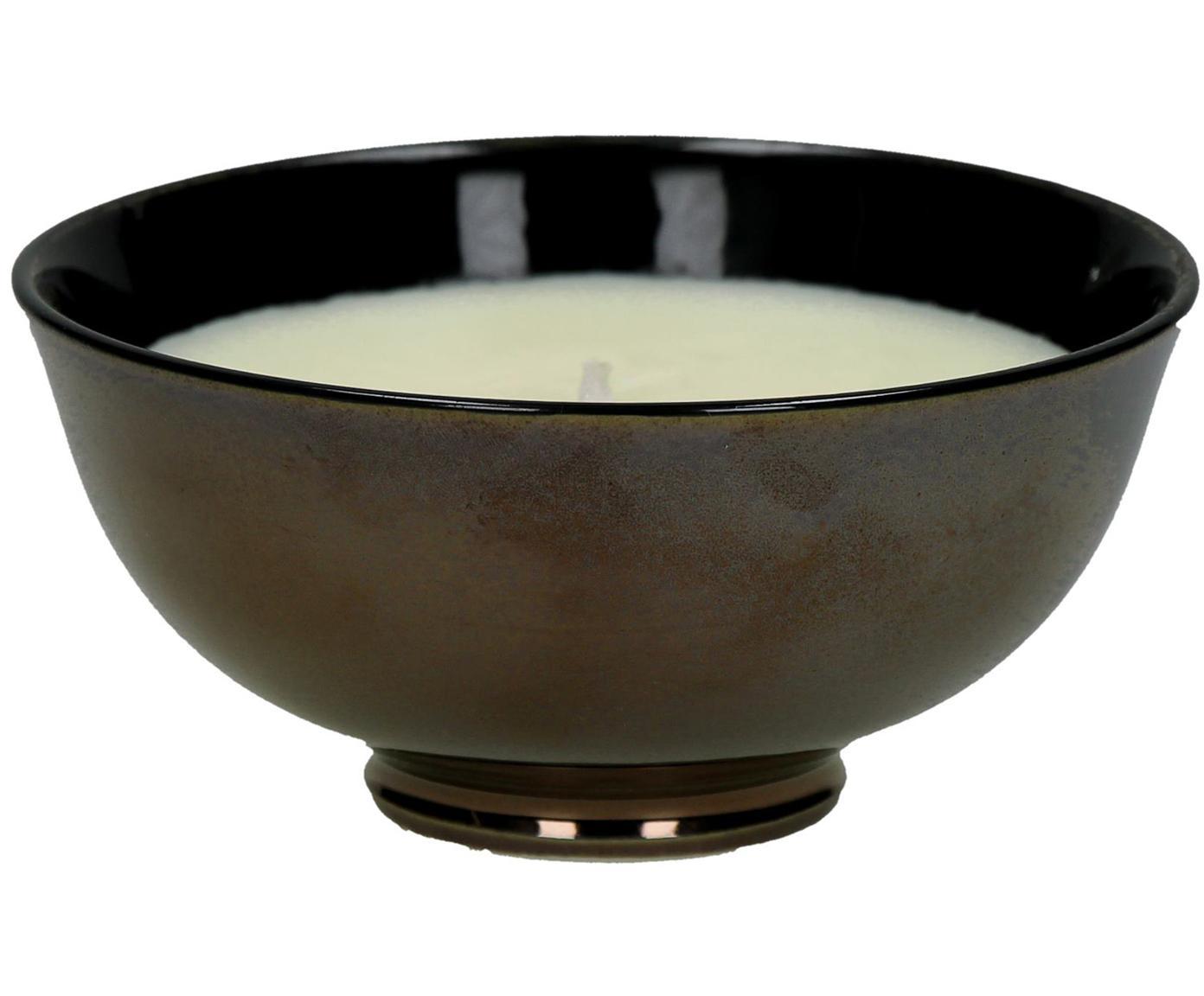 Geurkaars Black Yasmin (jasmijn), Houder: porselein, Houder: bruin.  Kaars: wit, Ø 12 x H 6 cm