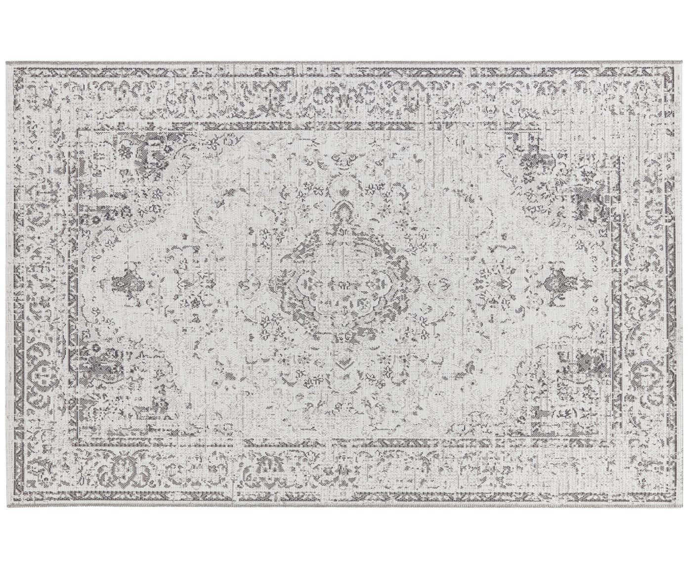 In- en outdoor vloerkleed Cenon in vintage stijl, Polypropyleen, Crèmekleurig, grijs, B 190 x L 290 cm (maat L)