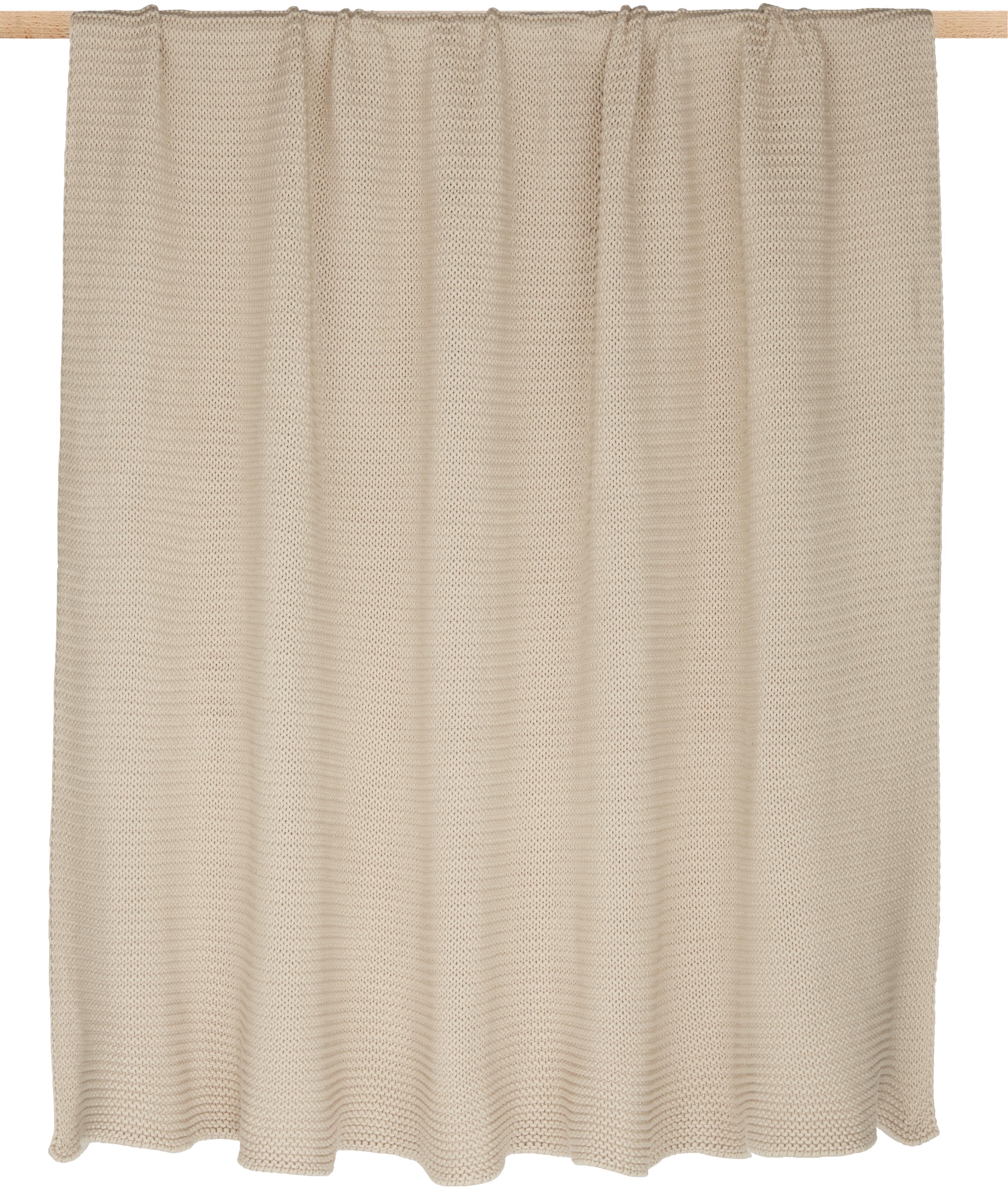 Gebreide plaid Adalyn, 100% katoen, Beige, 150 x 200 cm