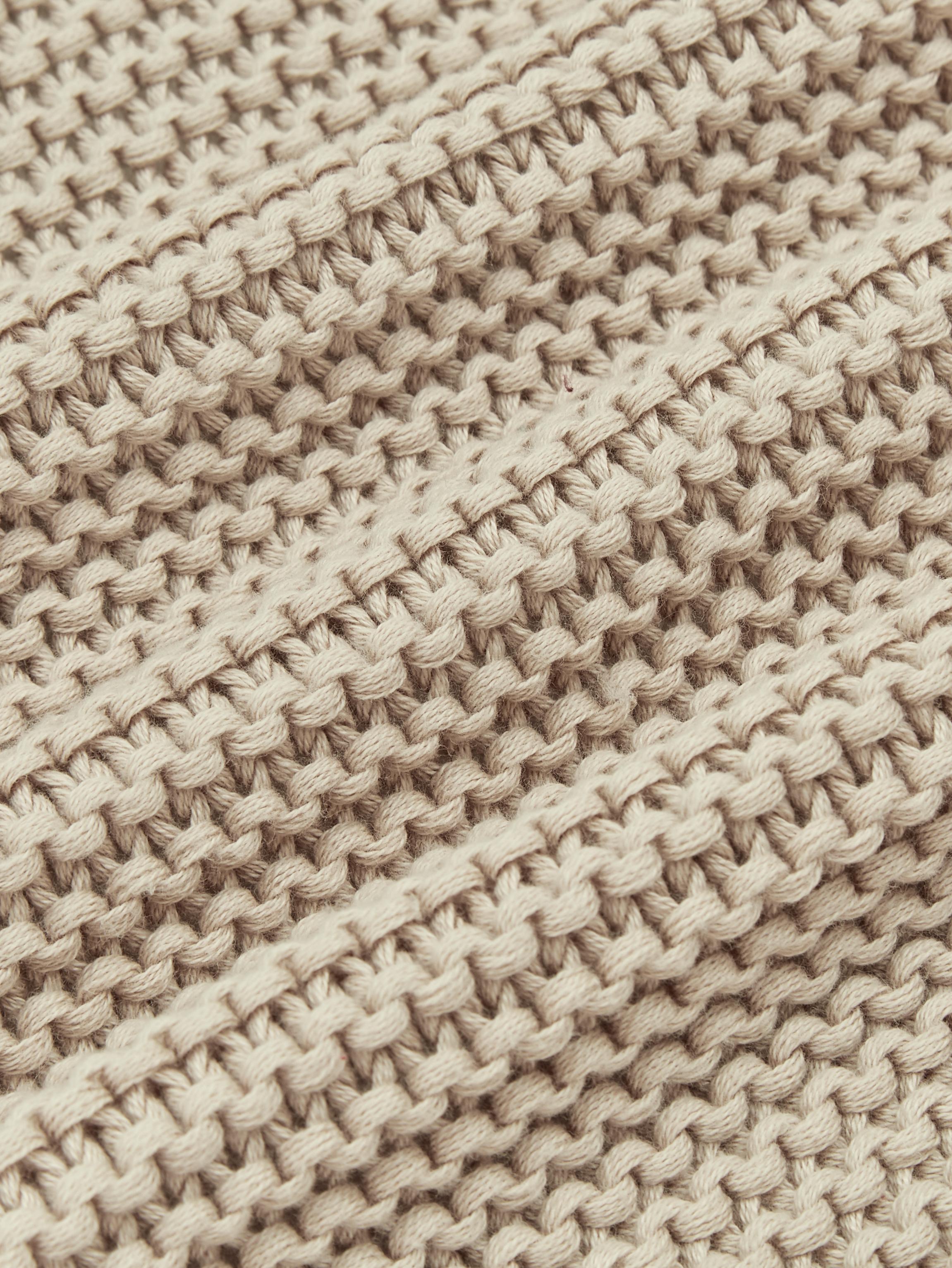 Manta de punto Adalyn, 100%algodón, Beige, An 150 x L 200 cm