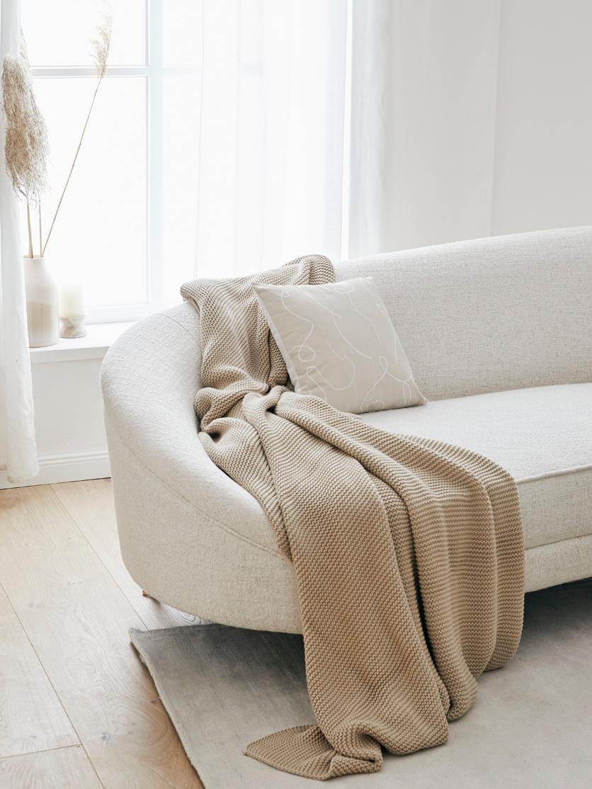 Strick-Plaid Adalyn in Beige, 100% Baumwolle, Beige, 150 x 200 cm