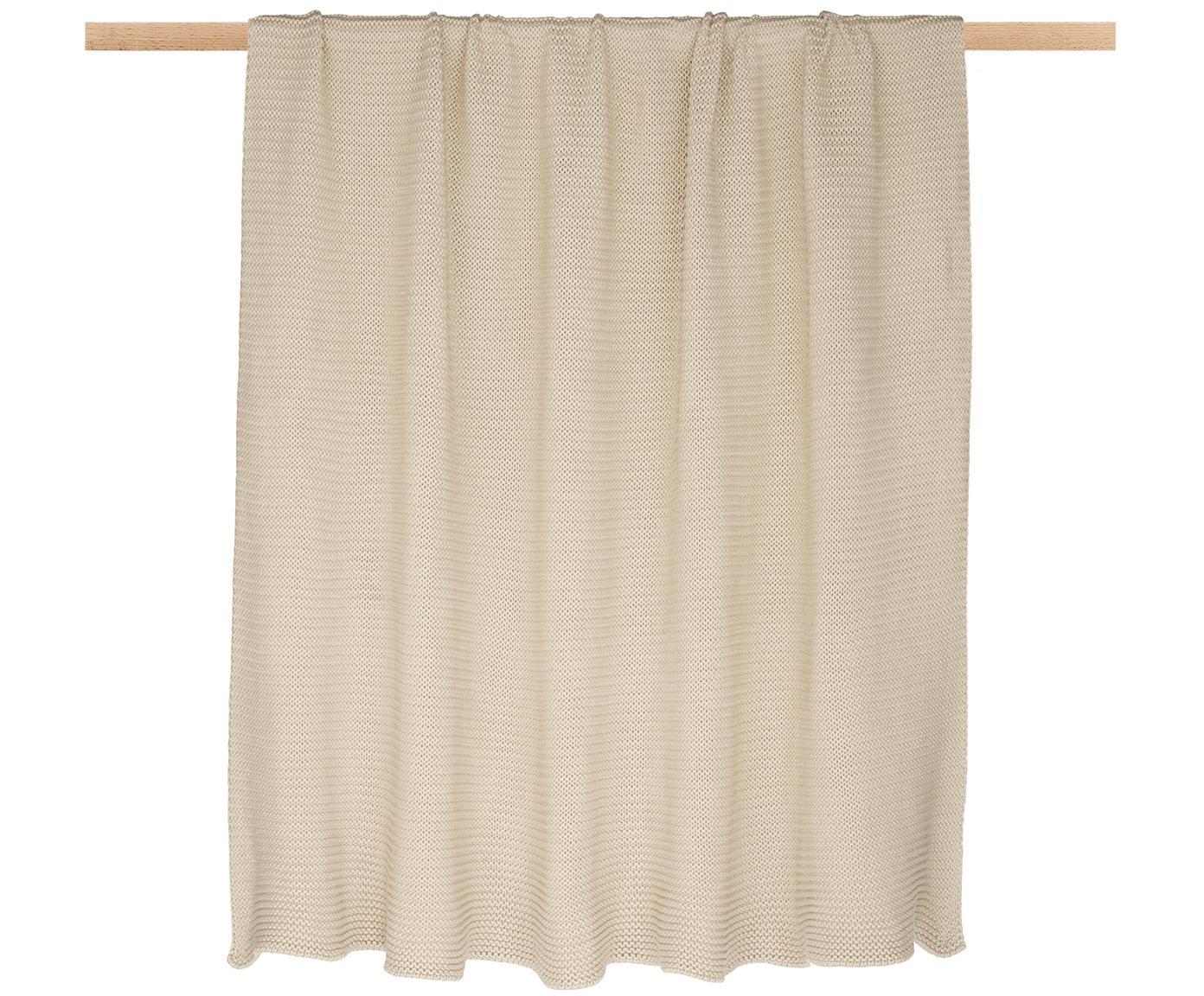 Plaid fatto a maglia Adalyn, 100% cotone, Beige, Larg. 150 x Lung. 200 cm