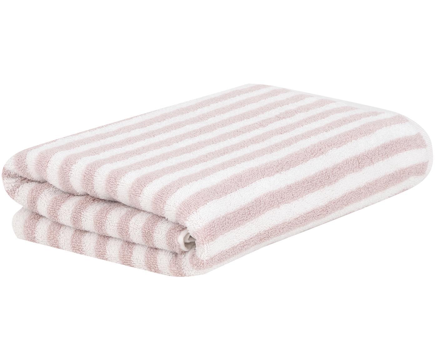 Gestreiftes Handtuch Viola, verschiedene Größen, Rosa, Cremeweiß, Handtuch