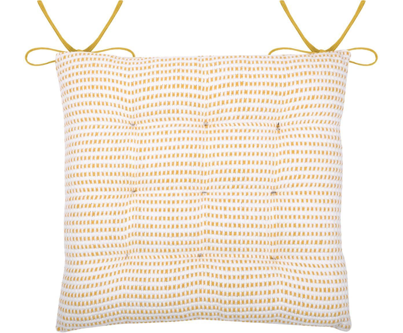 Nakładka na siedzisko Salamanca, Bawełna, Biały, żółty, S 40 x D 40 cm