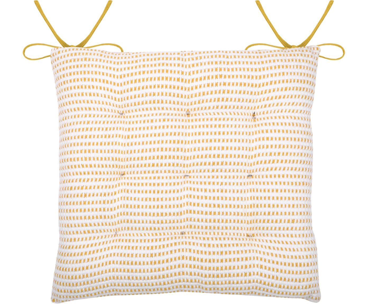 Sitzauflage Salamanca in Gelb/Weiß, 100% Baumwolle, Weiß, Gelb, 40 x 40 cm