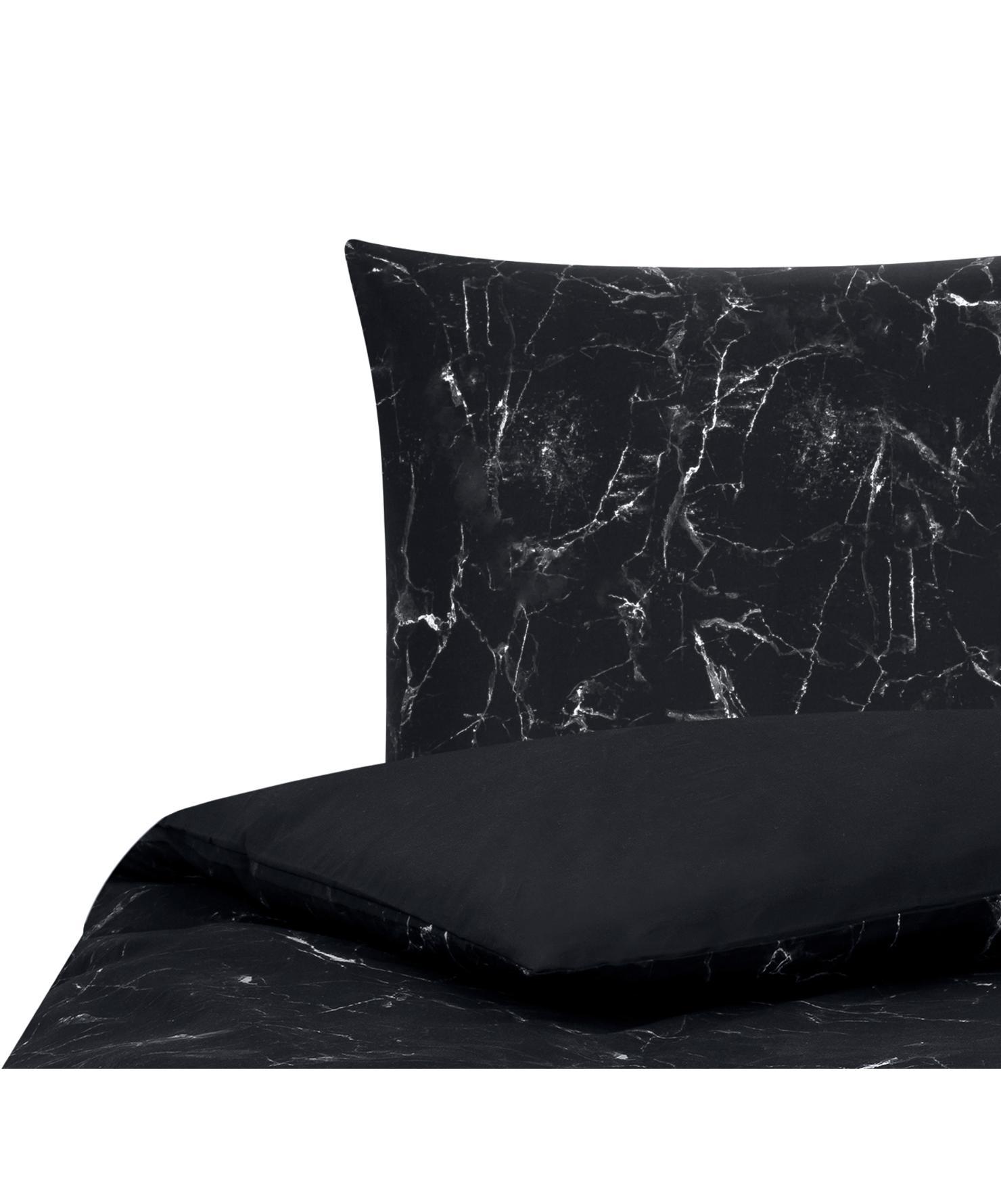 Baumwollperkal-Bettwäsche Malin mit Marmor-Muster, Webart: Perkal Fadendichte 200 TC, Schwarz, 155 x 220 cm + 1 Kissen 80 x 80 cm