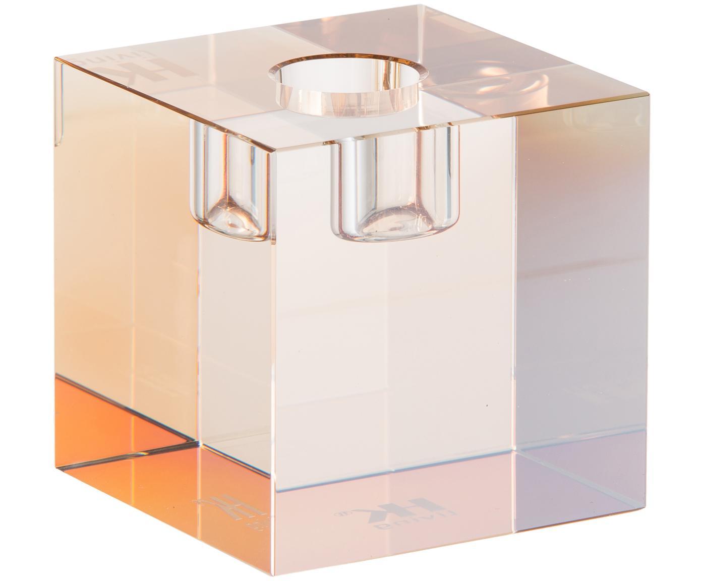 Kandelaar Cubic, Kristalglas, Amberkleurig, 7 x 7 cm