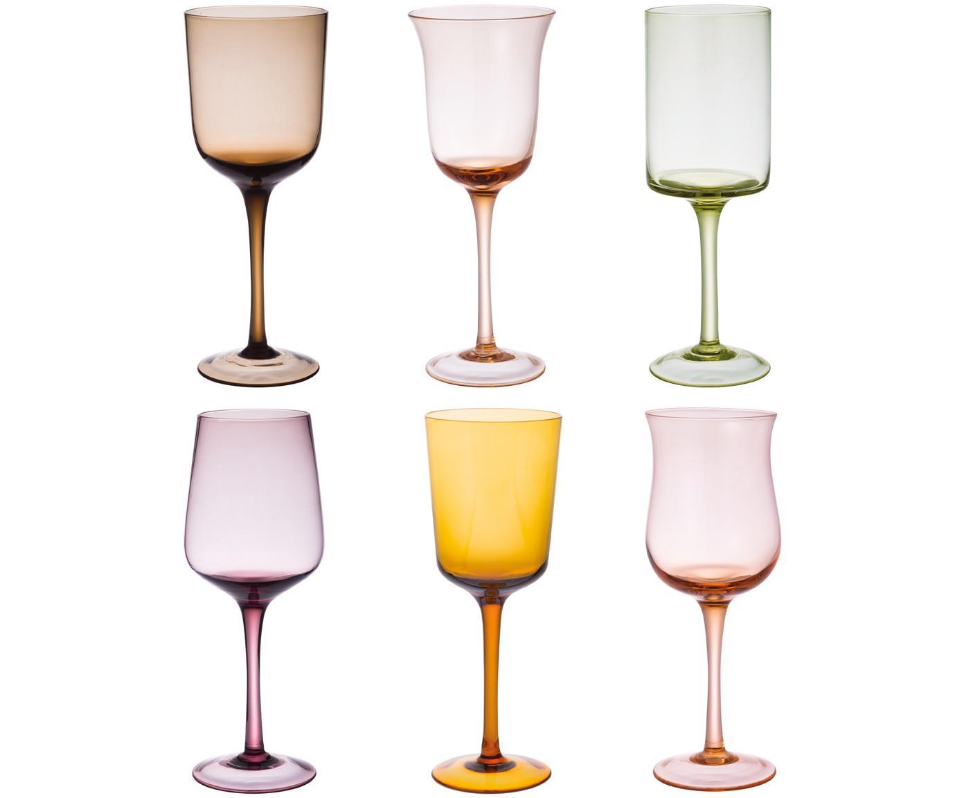 Copas de vino de vidrio soplado Desigual, 6uds., Vidrio soplado artesanalmente, Marrón, tonos rosas, verde, amarillo, lila, Ø 7 cm