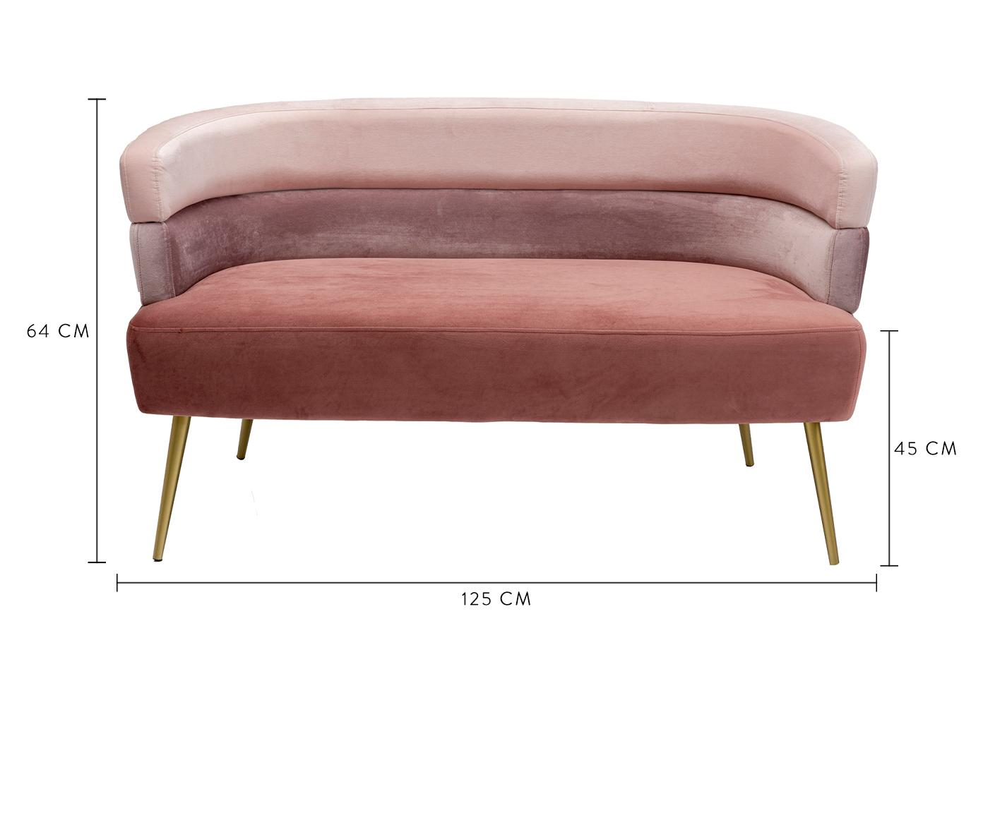 Samt-Sofa Sandwich (2-Sitzer) im Retro-Design, Bezug: Polyestersamt, Füße: Metall, pulverbeschichtet, Samt Rosa, B 125 x T 64 cm