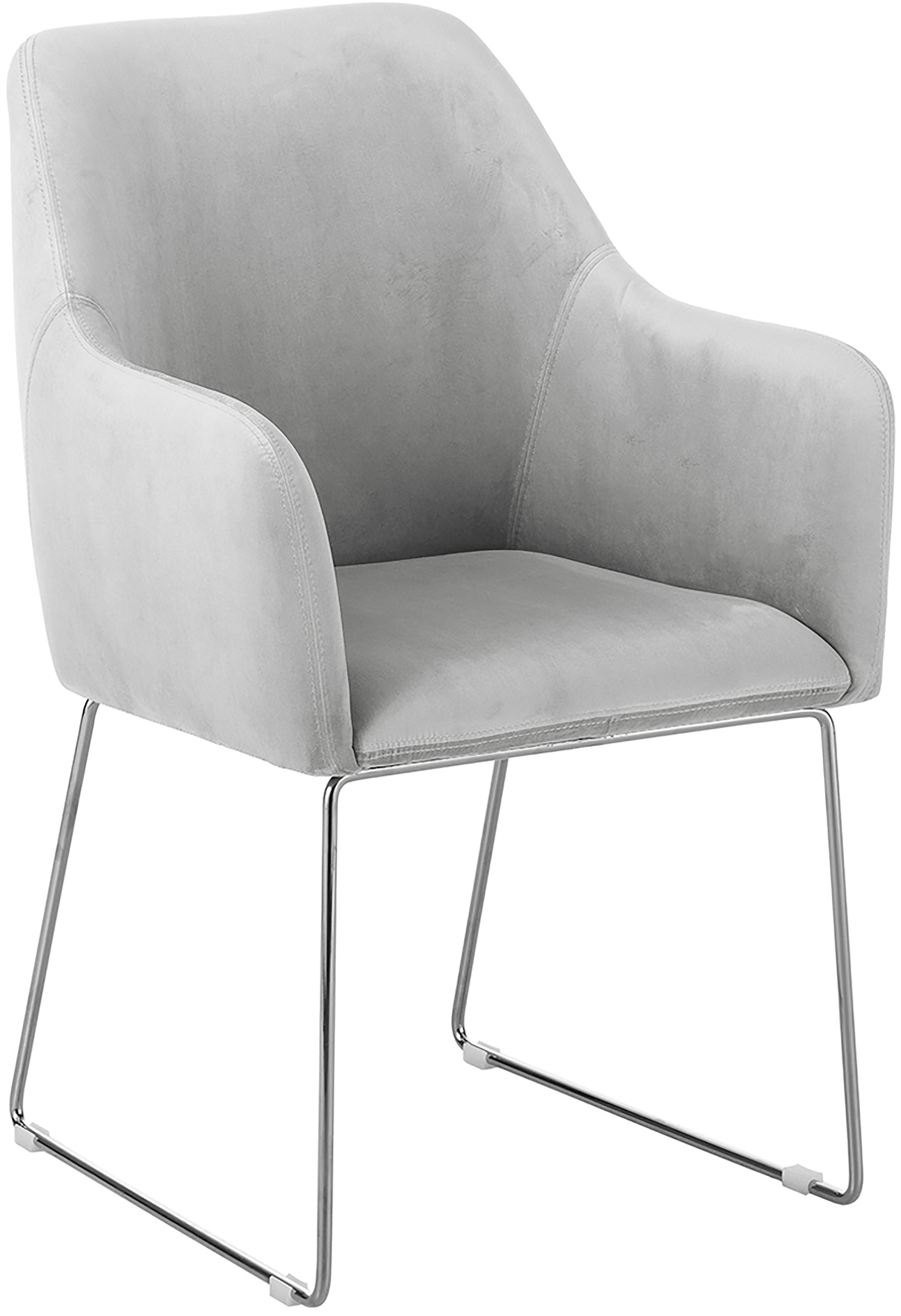 Samt-Polsterstuhl Isla mit Armlehne, Bezug: Samt (Polyester) Der hoch, Beine: Metall, beschichtet, Samt Hellgrau, Beine Silber, B 58 x T 62 cm