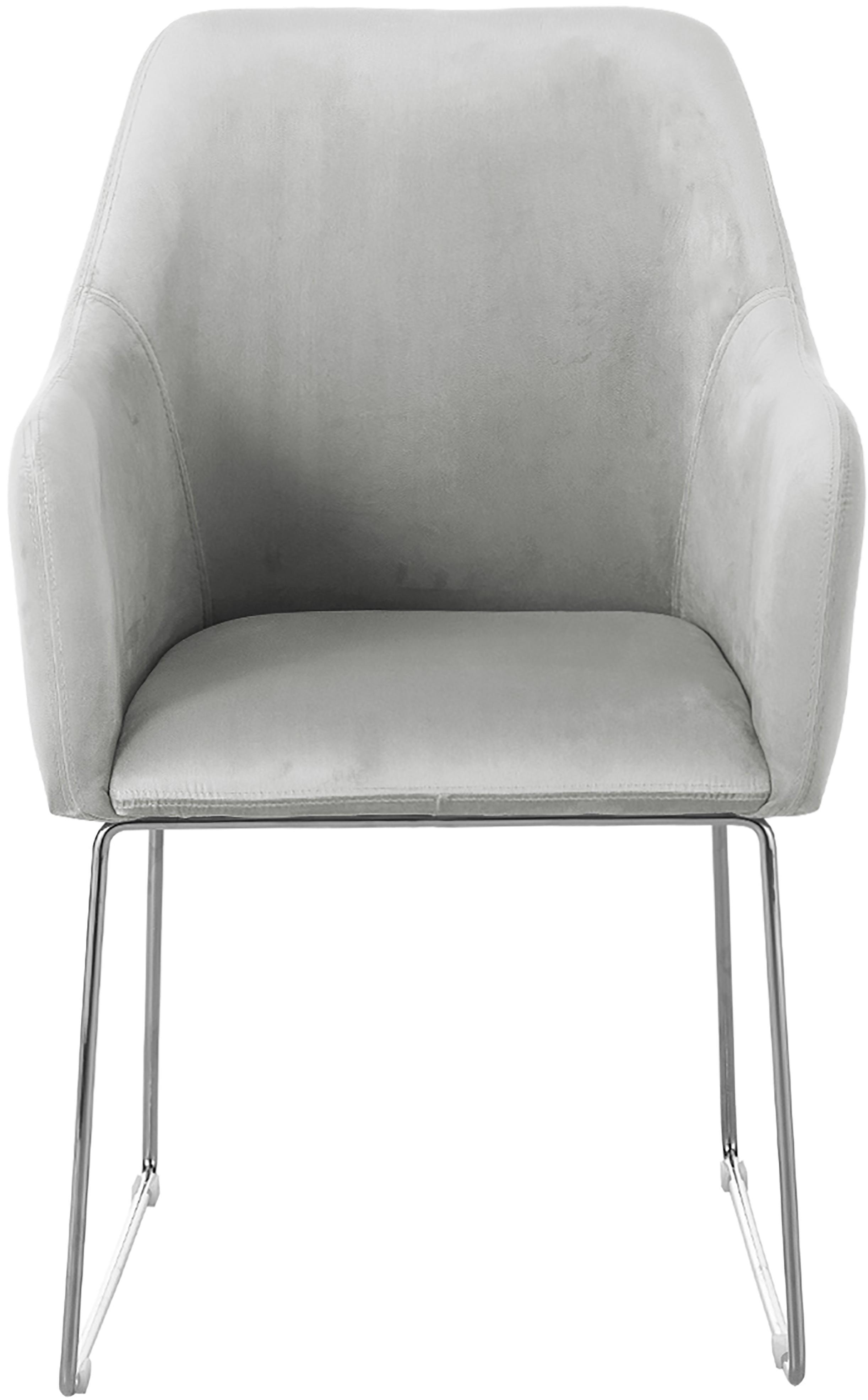 Fluwelen armstoel Isla, Bekleding: fluweel (polyester), Poten: gecoat metaal, Fluweel lichtgrijs, poten zilverkleurig, B 58 x D 62 cm