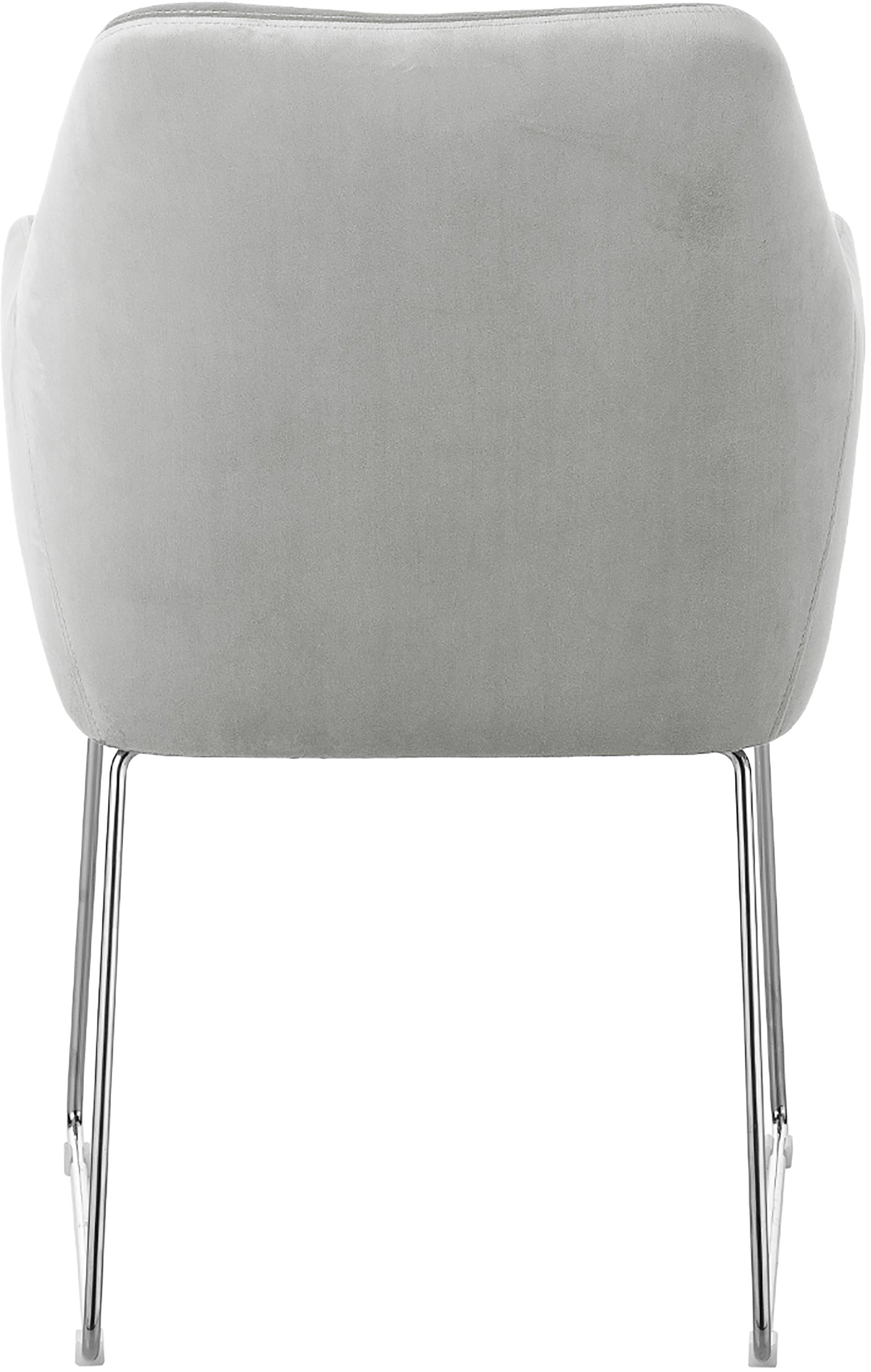 Fluwelen armstoel Isla, Bekleding: fluweel (polyester) De be, Poten: gecoat metaal, Fluweel lichtgrijs, poten zilverkleurig, B 58 x D 62 cm