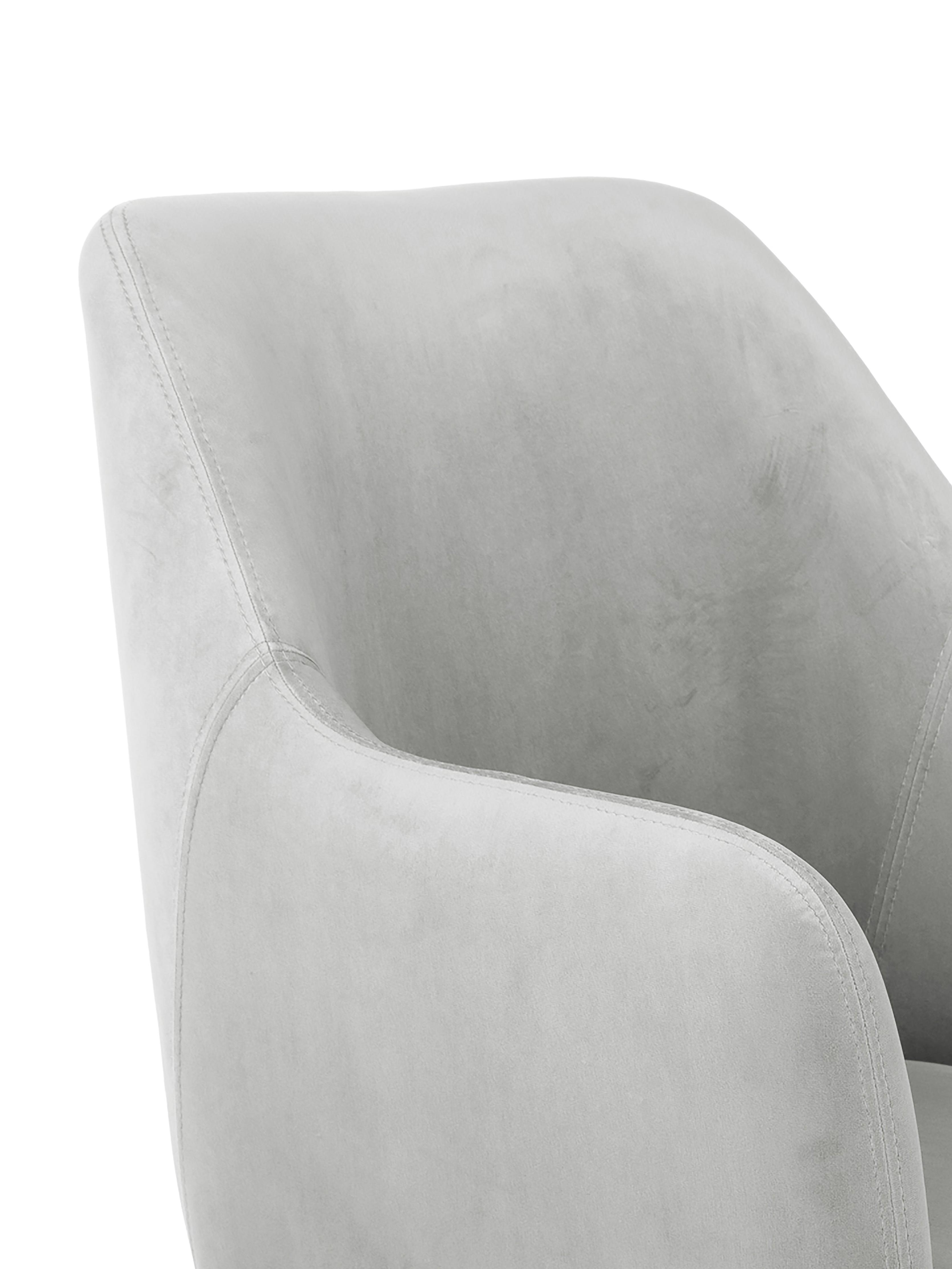 Chaise velours rembourré moderne Isla, Velours gris clair, pieds argent