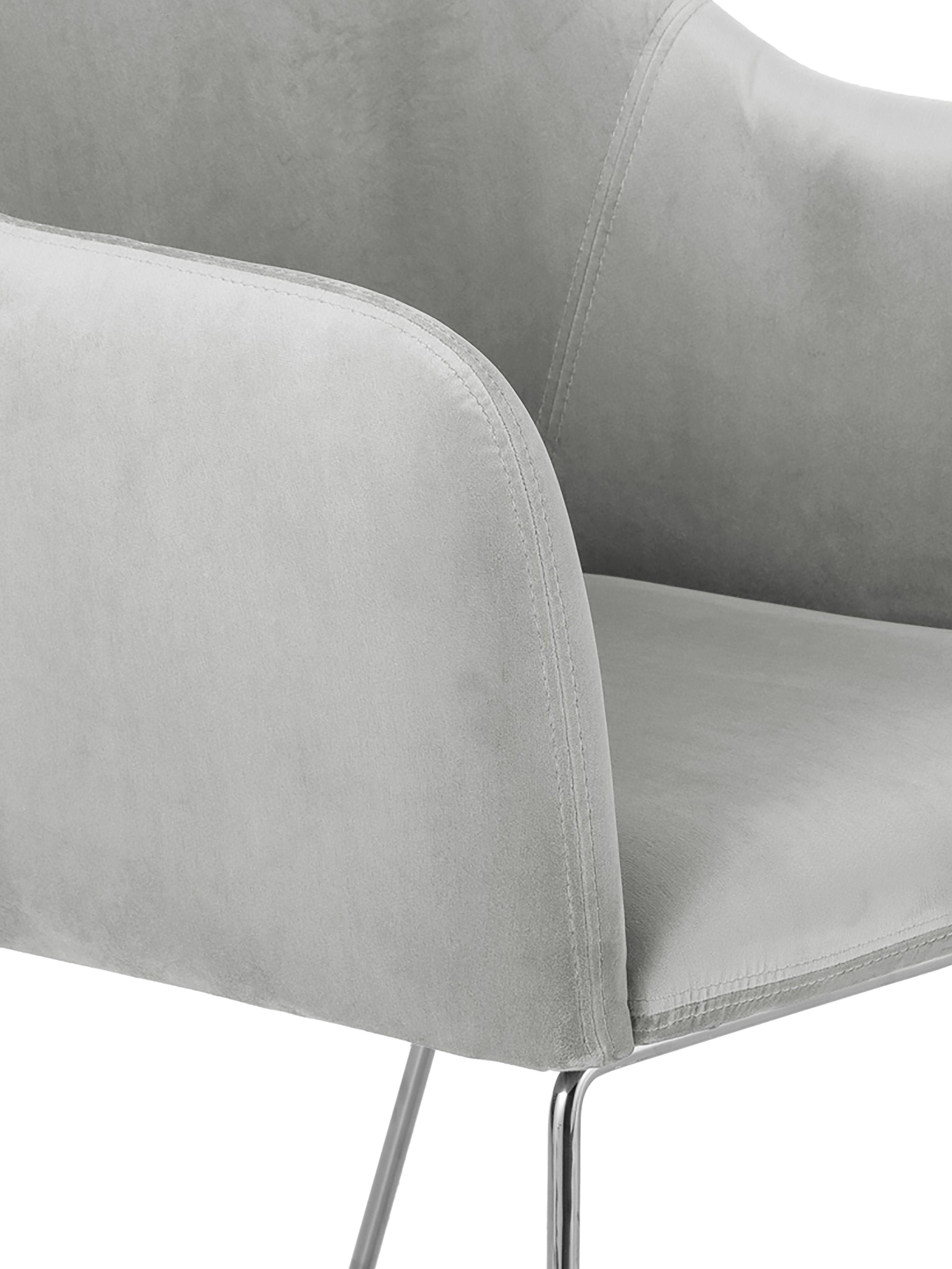Krzesło z aksamitu z podłokietnikami Isla, Tapicerka: aksamit (poliester) 5000, Nogi: metal powlekany, Aksamitny jasny szary, nogi: srebrny, S 58 x G 62 cm