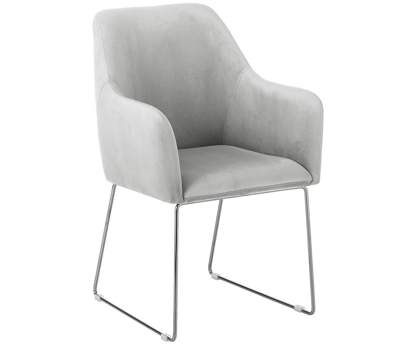 Sedia in velluto con braccioli Isla, Rivestimento: velluto (poliestere) 50.0, Gambe: metallo rivestito, Velluto grigio chiaro, gambe argento, Larg. 58 x Prof. 62 cm