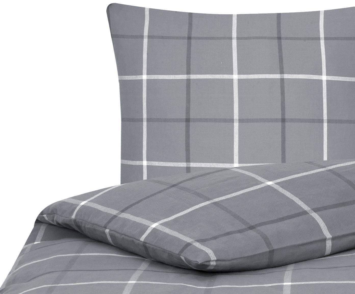 Flanell-Bettwäsche Rafa, kariert, Webart: Flanell Flanell ist ein s, Grau, 135 x 200 cm