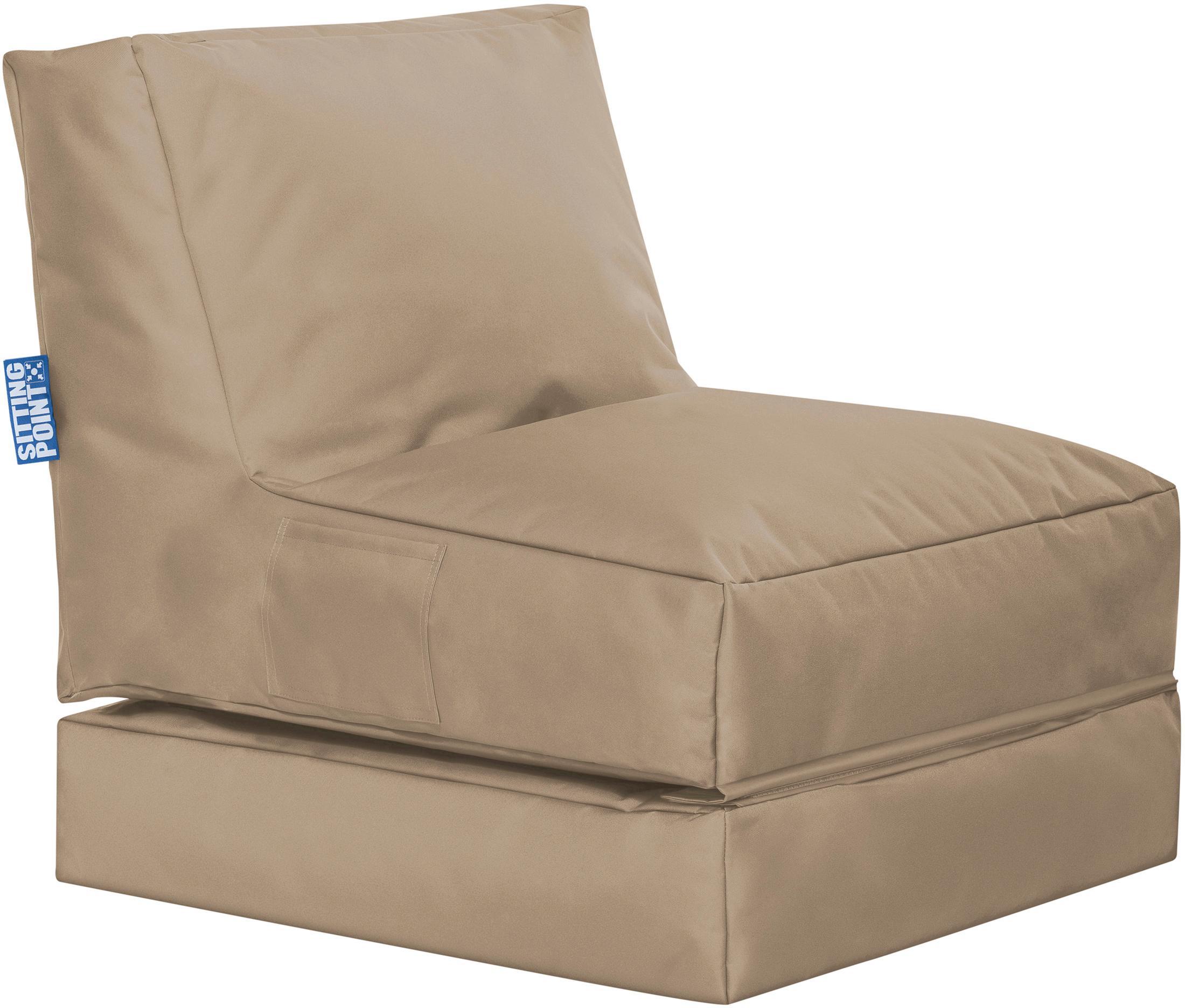 Garten-Loungesessel Pop Up mit Liegefunktion, Bezug: 100% Polyester Innenseite, Khaki, B 70 x T 90 cm