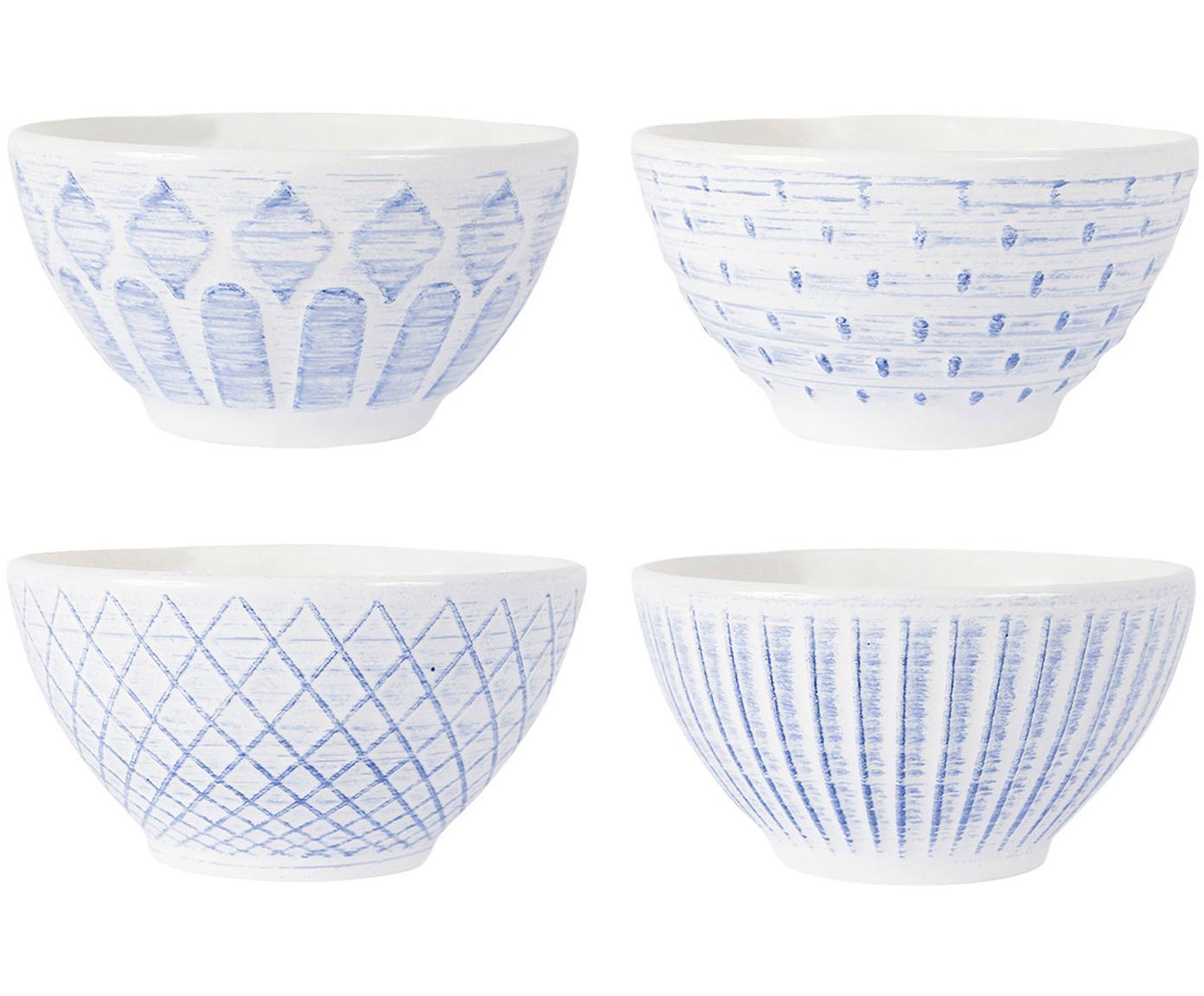 Steingut-Schälchen Tartine in Weiß/Blau, 4 Stück, Steingut, Blau, Weiß, Ø 20 x H 17 cm