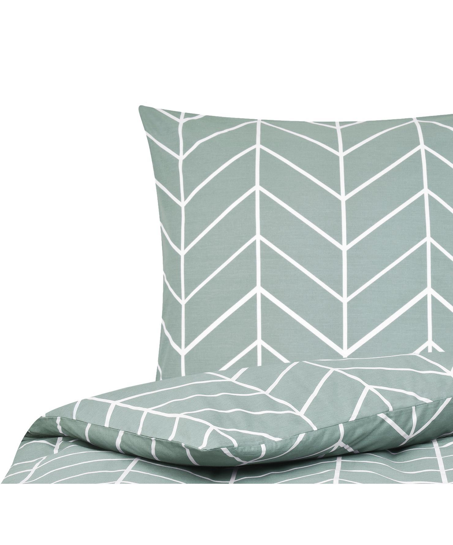 Baumwoll-Bettwäsche Mirja mit grafischem Muster, Webart: Renforcé Fadendichte 144 , Grün, Cremeweiß, 135 x 200 cm + 1 Kissen 80 x 80 cm