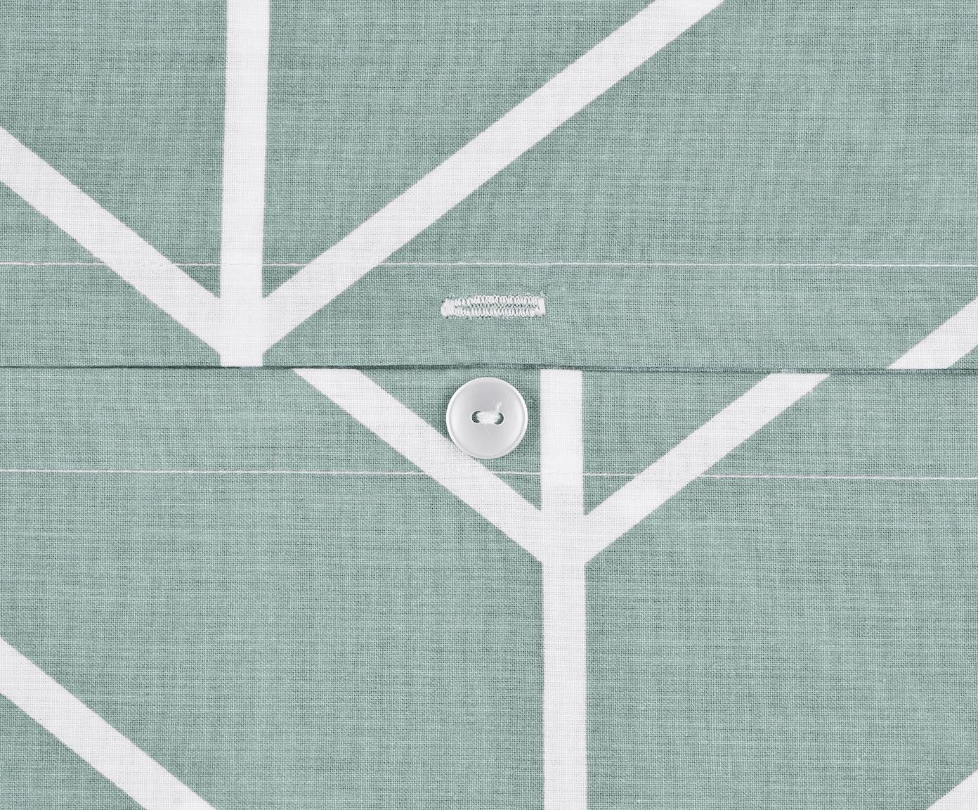 Baumwoll-Bettwäsche Mirja mit grafischem Muster, Webart: Renforcé Fadendichte 144 , Grün, Cremeweiss, 155 x 220 cm + 1 Kissen 80 x 80 cm