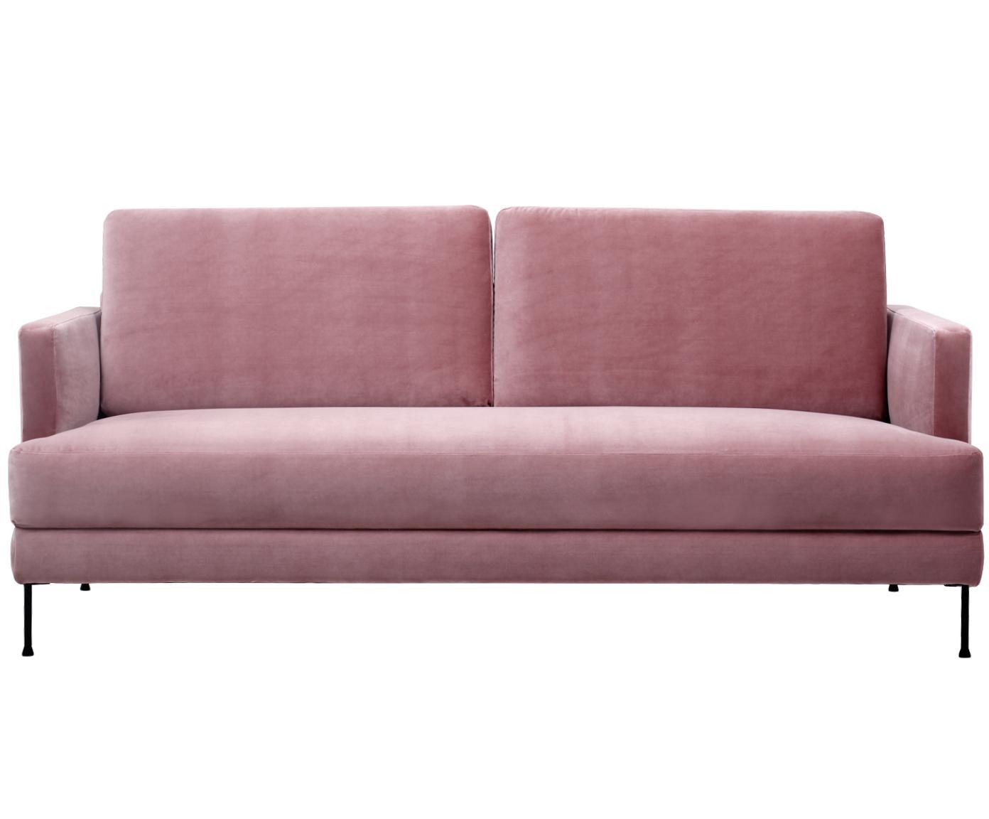 Sofa z aksamitu Fluente (3-osobowa), Tapicerka: aksamit (wysokiej jakości, Stelaż: lite drewno sosnowe, Nogi: metal lakierowany, Aksamitny blady różowy, S 197 x G 83 cm