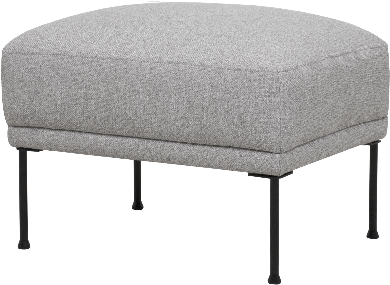 Poggiapiedi da divano in tessuto grigio chiaro Fluente, Rivestimento: 80% poliestere, 20% Ramie, Struttura: legno di pino massiccio, Piedini: metallo, verniciato a pol, Tessuto grigio chiaro, Larg. 62 x Alt. 46 cm