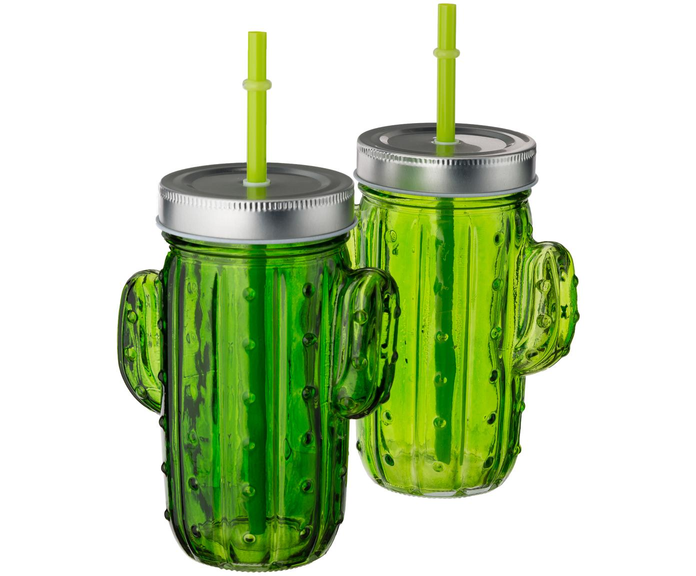 Trinkgläser-Set Kaktus, 2-tlg., Trinkglas: Glas, Deckel: Metall, Strohhalm: Kunststoff, Grüntöne, 12 x 15 cm