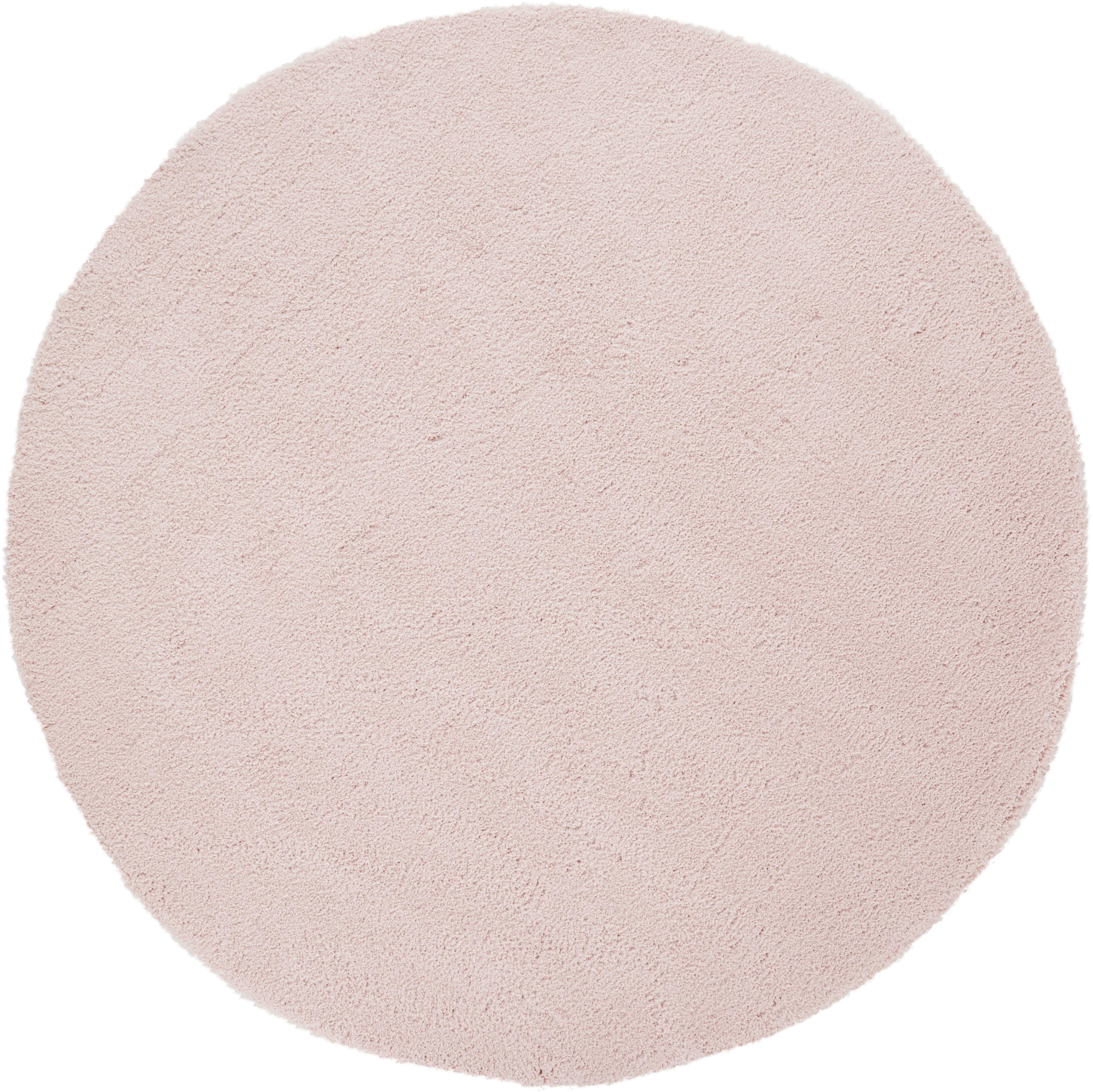 Flauschiger Runder Hochflor-Teppich Leighton in Rosa, Flor: 100% Polyester (Mikrofase, Rosé, Ø 120 cm (Grösse S)
