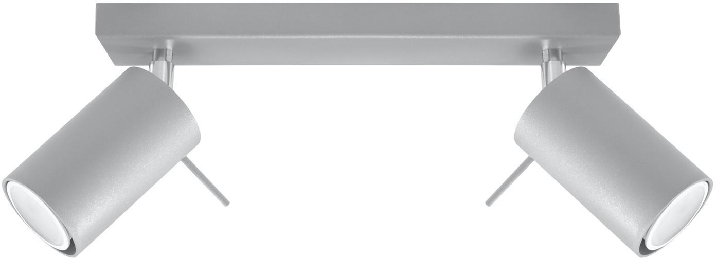 Plafondspot Etna in grijs, Staal, Grijs, 30 x 15 cm