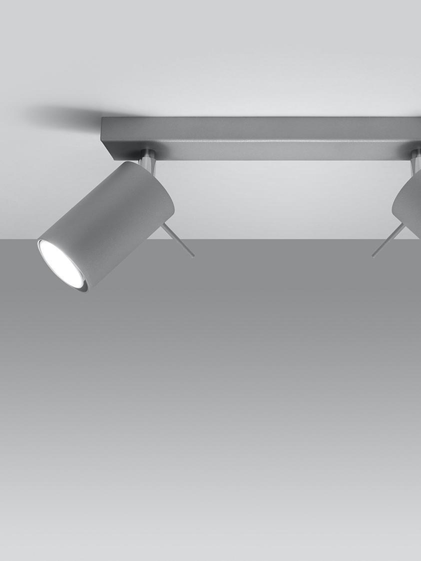 Deckenstrahler Etna in Grau, Stahl, Grau, 30 x 15 cm