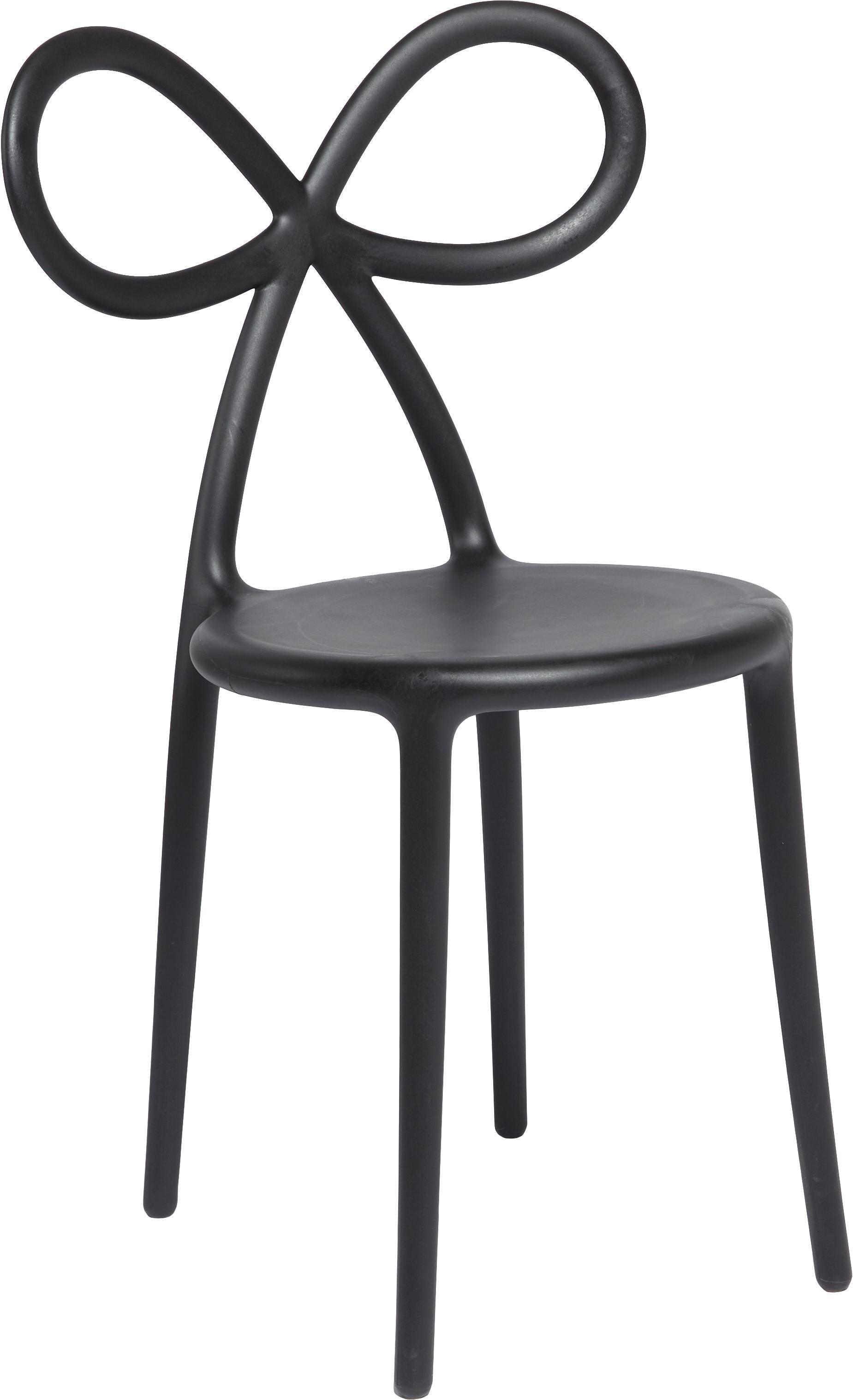 Kunststoff-Stuhl Ribbon in Schwarz, Kunststoff (Polypropylen), Schwarz, B 53 x T 52 cm
