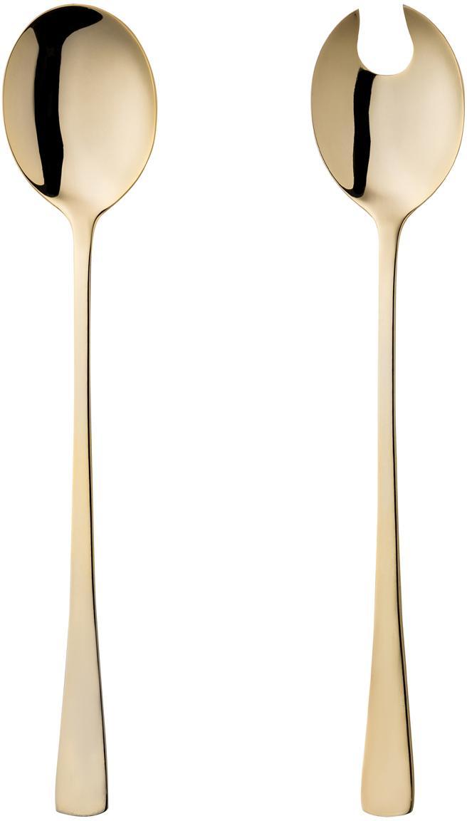 Komplet sztućców do sałatek ze stali szlachetnej Matera, 2elem., Stal szlachetna, Odcienie złotego, D 27 cm