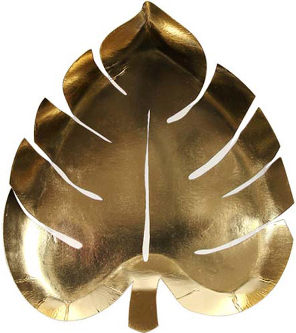Papieren borden Palm Leaf, 8 stuks, Gecoat papier, Goudkleurig, B 23 x D 19 cm