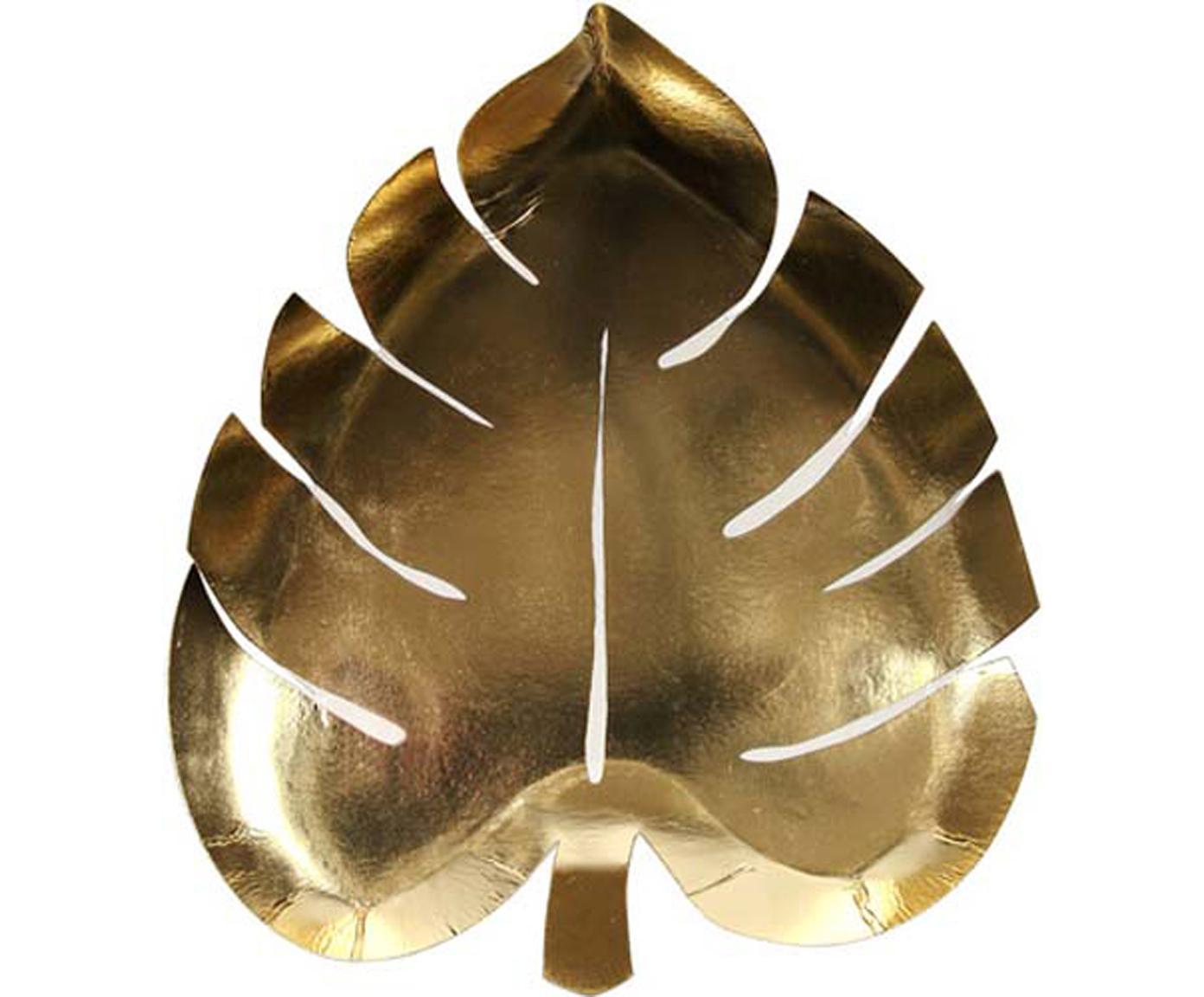 Talerz z papieru Palm Leaf, 8 szt., Papier, foliowany, Odcienie złotego, S 23 x G 19 cm