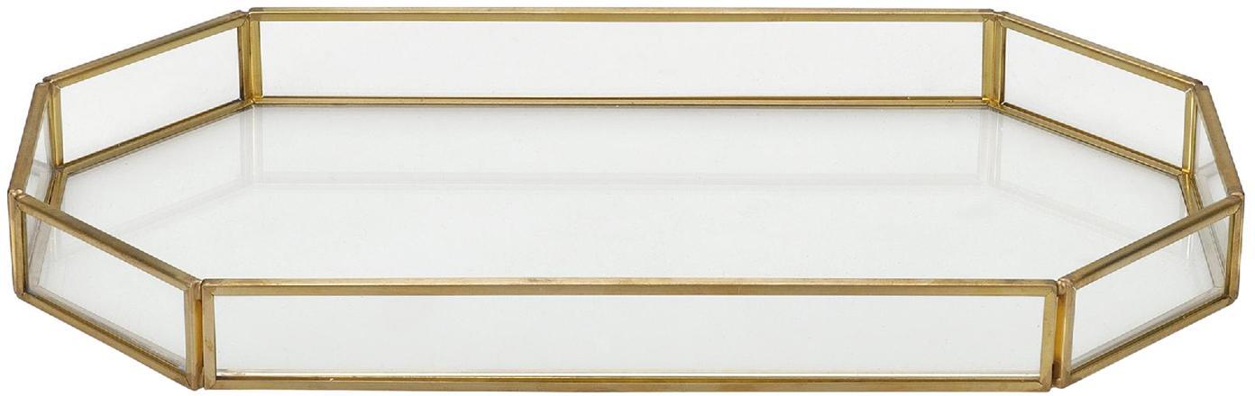 Vassoio decorativo Bativ, Vetro, Trasparente, Larg. 27 x Alt. 3 cm
