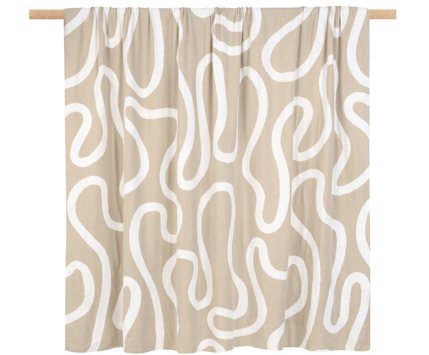 Fijn gebreide dubbelzijdige plaid Amina met abstract lijnpatroon, Katoen, Beige/wit, 150 x 200 cm