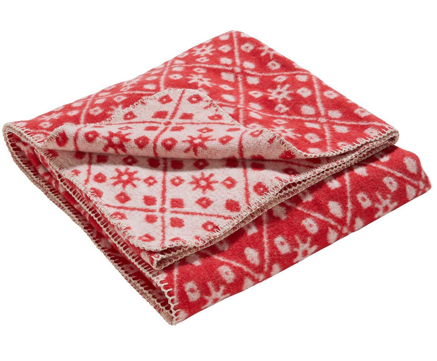 Dubbelzijdige plaid Brann, 80% katoen, 15% polyester, 5% andere vezels, Rood, gebroken wit, 125 x 170 cm