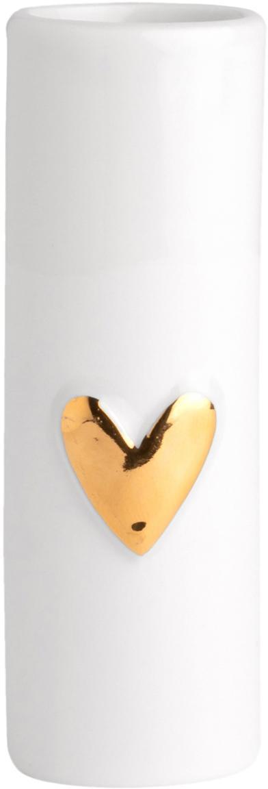 XS porseleinen vazen Heart, 2 stuks, Porselein, Wit, goudkleurig, Ø 4 x H 9 cm