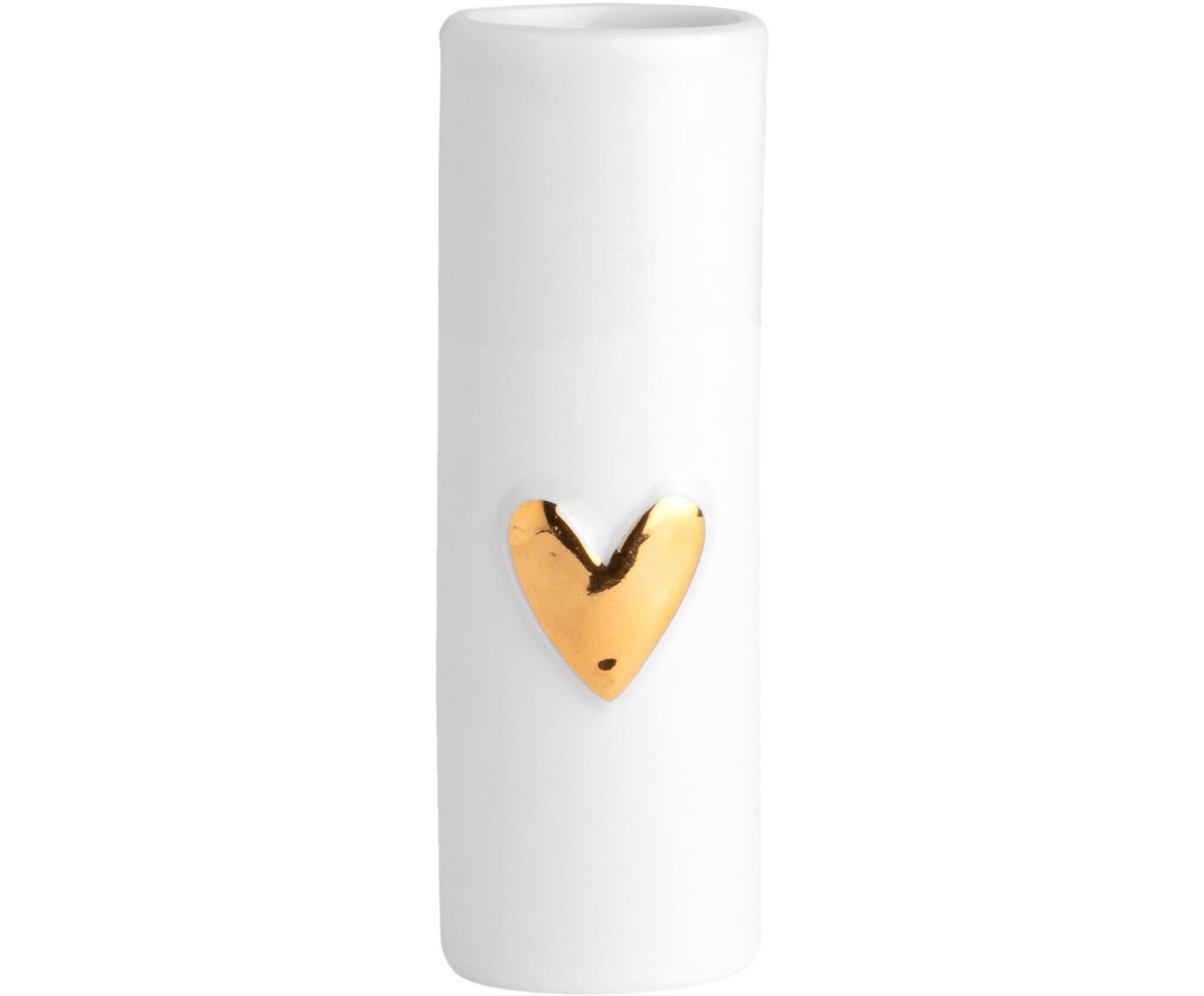 Jarrones pequeños de porcelana Heart, 2uds., Porcelana, Blanco, dorado, Ø 4 x Al 9 cm